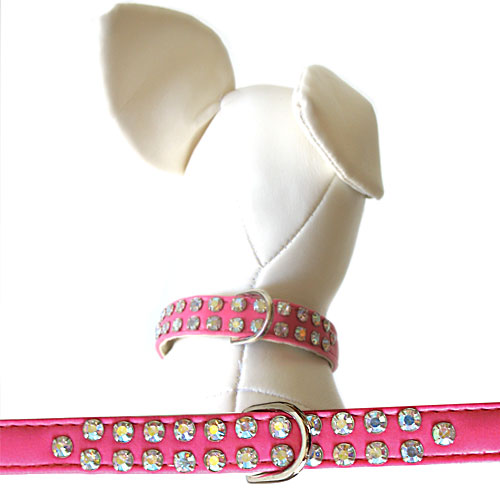 Double Row Char Collars Hot Pink