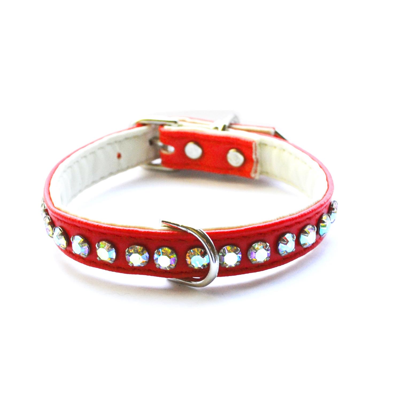 Ashley Designer Crystal Red Dog Collar