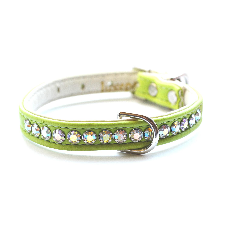 Jackie O Designer Crystal Dog Collar Lime