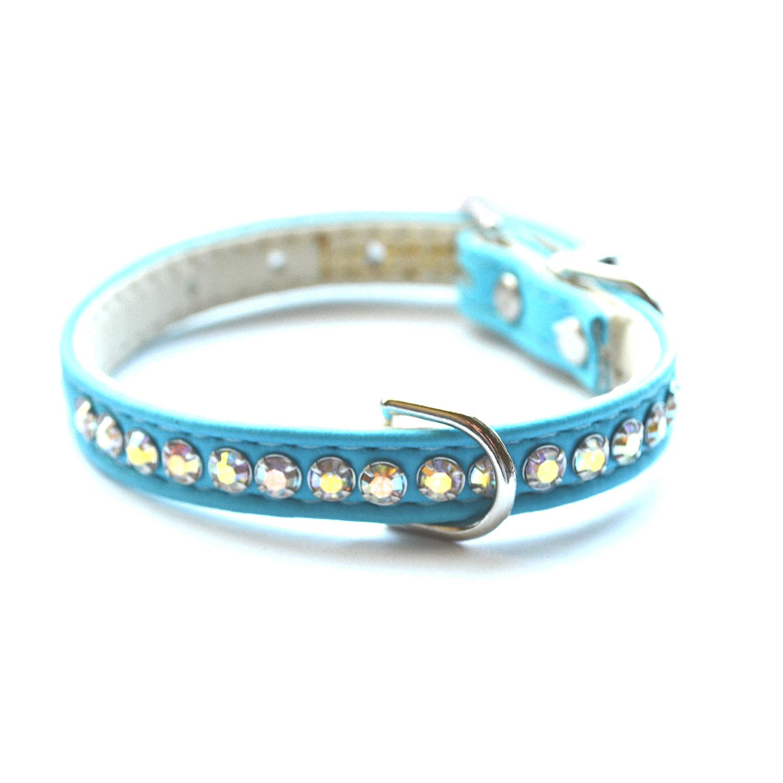 designer dog crystal collar teal