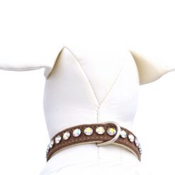 Crystal Dog Collar in Camel Ultrasuede