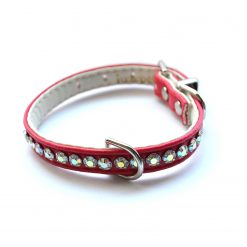 Jackie O Designer Dog Crystal Collar Red